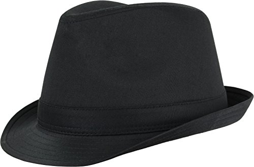 Tarjane® Unisex Freizeit Fedora Hut mit Zierband Schwarz S/M