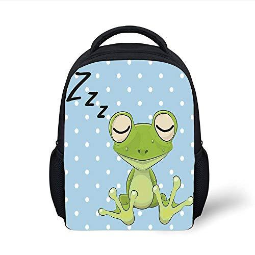 Kids School Backpack Cartoon,Sleeping Prince Frog in a Cap Polka Dots Background Cute Animal World Kids Home Decor,Green Blue Plain Bookbag Travel Daypack