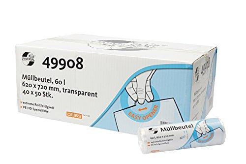 Deiss Universal 49908 Sacchetti per Rifiuti con Banderole Stampate, Capacita 60 L, Trasparente, 620X720 mm, 50 Pezzi