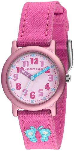 Jacques Farel Öko Kinderuhr mit Bio-Baumwolle Mädchen Schmetterling rosa / pink ORG2222