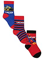 Jcb Multicolour Cotton Rich Pull On Ribbed Trim Slogan Character Print Socks Red 3/5H