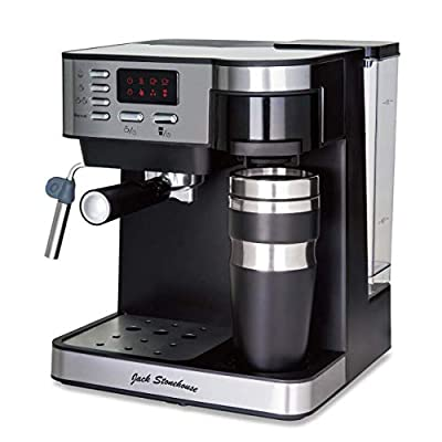 Jack Stonehouse Stainless Steel 15 Bar Combi Espresso & Filter Coffee Machine with Travel Mug & Steam Arm