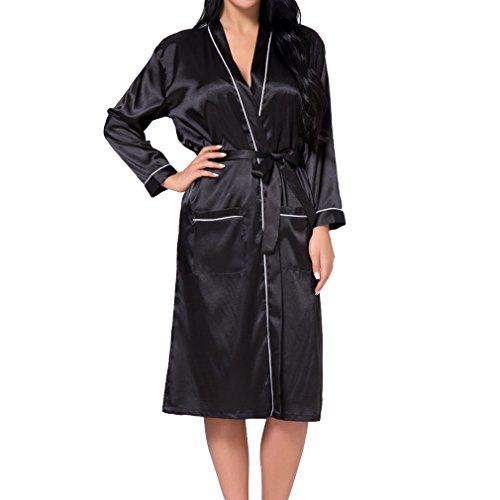 Hibote Damen Seide Rayon Robe Sexy Lange Dessous Nachtwäsche Kimono Nachthemd Plus Size Nachthemd Schwarz ()