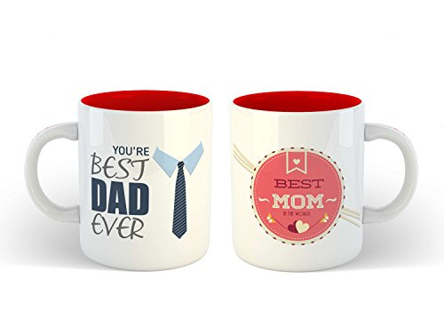 IKraft Coffee Mugs Gift For Mom And Dad Two Tone Red Creative You're Best Dad Ever And Best Mom In The World Printed Coffee Mug Set Idea For Mom & Dad Anniversary Mother's Day Father's Day Birthday 350 Ml