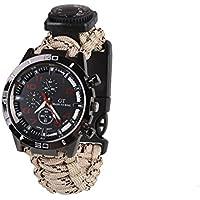 Forfar 6 IN 1 imperméable à l'eau Survival Paracord Bracelet Montre Survie Paracord Bracelet poignet visionner avec siff