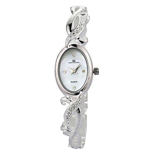 Marco Valentino Damen Kleid Uhr, Zirkonia, in Sterling Silber, 925markiert, mit Amtlicher Punze des Londoner edelmetallkontrollamts, Perlmutt Zifferblatt, hochwertiger...