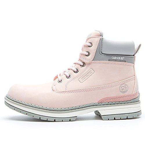 Botines Planos de Spring para Mujer - AnjouFemme Zapatos con Cordones para Mujer, Botas Impermeables Cómodas, la Mejor Elección para Caminar, Hacer Senderismo y para el Día a Día AMZ-TM1-PINK2-40