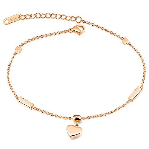 Onefeart Rose Gold Vergoldet Fußkette für Frauen Mädchen Herzförmig Fußkette 26CM Strand Fußkette Rose Gold