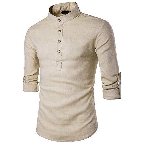 Camicia Uomo LandFox Slim Fit Tinta Unita Casual Morbida Maniche Lunghe Camicie Casual Lino bambù Fibra Camicia Miscela di Cotone Casual
