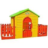 Spielhaus Kinderspielhaus mit Terrasse XXL für drinnen und Draußen Gartenhaus Kinderhaus Kinder Spiel Haus Gartenhaus D05