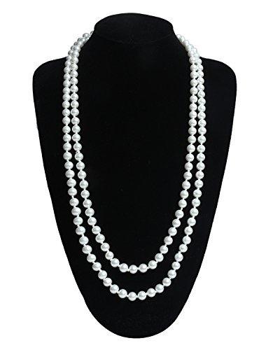 Charleston Schmuck Kostüm - InnoBase Modische Lange Faux Perle Halskette Perlen Collier Kette 1920er Gatsby Kostüm Accessoires Perlenkette Damen für Abend Charleston Party 59