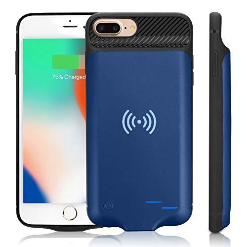 WUEOO Qi Akku Hülle für iPhone 6 Plus/6SPlus/7Plus/8 Plus, 5000mAh Tragbare Drahtlos Ladebatterie Zusatzakku Externe Handyhülle Batterie Wiederaufladbare Schutzhülle Power Bank Akku Case (5,5 Zoll) (Battery Plus Case Sechs)