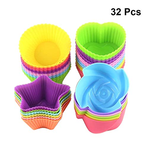 Toyvian 7cm silicone muffin baking cups silicone cupcake liners stampi per dolci stampi impilabili - 32 pezzi (colore casuale)