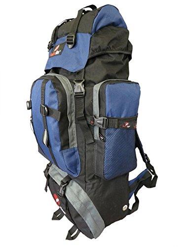 Backpacker Rucksack - Festival Camping Rucksack - Rucksack Wanderrucksack – Trekking-Rucksack - Super Leichte 1,2 Kg - Viele Fächer - XL Extra Groß - RL15KG (Schwarz Blau) (Schlafsäcke Rabatt)