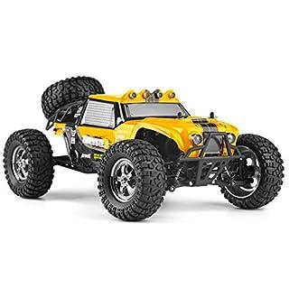 AKDSteel HBX 12889 1:12 4WD 2.4G RC Auto Thruster Drift LED Licht Fernbedienung Desert Truck Offroad Gelb für Spielzeug