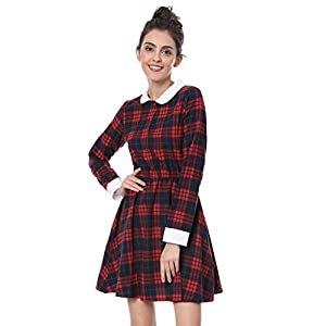 3cece03b981e2a Allegra K Women's Contrast Peter Pan Collar Check Long Sleeve Aline Skater  Dress