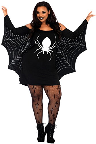erdbeerclown - Halloween Damen Mädchen Kostüm Spinnenfrau Spider Queen Spinnennetz, 2XL, Schwarz