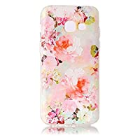 For Samsung Galaxy A3 (2017) Case [with Free Screen Protector],KwapoŽ Ultra Slim Transparent Soft TPU Silicone Back Rubber Bumper Clear Creative Pattern Design Flexible Protector Cover Case for Samsung Galaxy A3 (2017) - Peony
