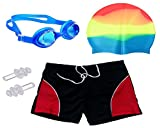 #4: Bloomun Swimming Shorts for Kids Boy with Cap, Goggles & Earplug (6- 7 Years Slim Figure)