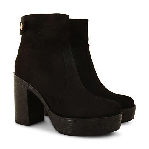 neuen Damen Block geschoben Ferse Damen Chelsea Plattform Stiefelette Schuhe Größe PD6-Black Suede