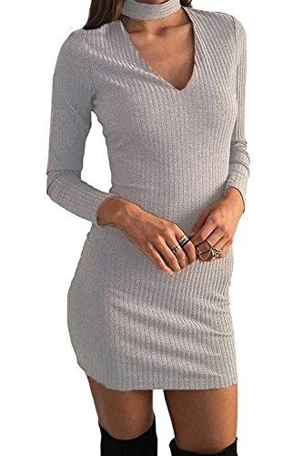 Minetom Damen Kleid Winter Herbst Elegante Langarm V-Ausschnitt Strickkleider Overall Partykleid Abendmode Grau DE 36 (Dark Angel Halloween Kostüme Für Frauen)