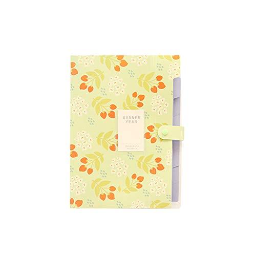 Fresh Floral Series 5 Bis 8 In Den Pp-Ordner Student Papers Office Data Finishing Aufbewahrungstasche Kunststoff Mehrseitenordner,Green,5 (Abschnitt 5 Ordner)