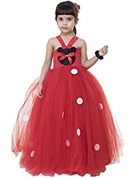 Samsara Couture Kids Minnie Mouse Red Net And Satin Girls Party Wear Dress Birthday