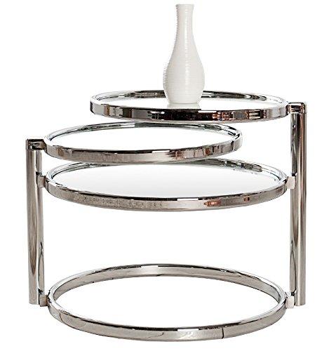 DuNord Design Beistelltisch Couchtisch PLATE 3 Art Deco Design Glas/chrom Retro -
