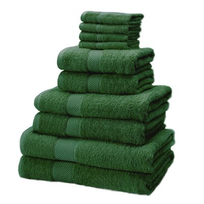 Linens Limited 100% Turkish Cotton 10 Piece Towel Bale, Forest Green