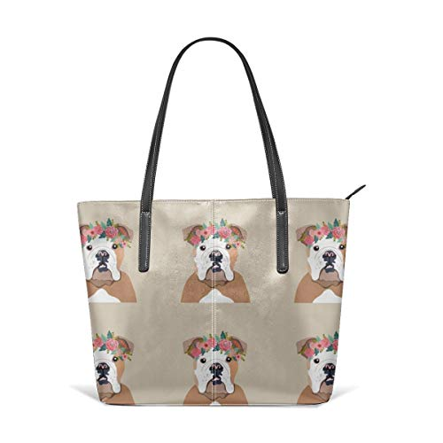 Women's Soft Leather Tote Shoulder Bag English Bulldog Dog With Cut Lines Dog Panel, Dog, Cut And Sew Floral Fashion Handbags Satchel Purse -