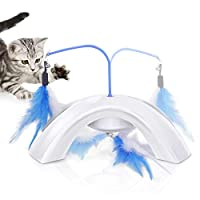 MIA&prit Interactive Feather Dangler for Cats, Cat Toy Flying Feather Cat Catcher with Extra Long Wand and Small Bell, Fun Exerciser Playing Toy for Kitten or Cat.