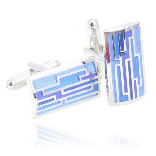 Digabi Elegance Serie Rechteck blau Glazing Manschettenknöpfe mit Geschenk-Box (Rechteck-serie)