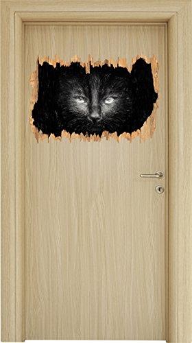 schwarzes Katzengesicht Kohle Effekt Holzdurchbruch im 3D-Look , Wand- oder Türaufkleber Format: 62x42cm, Wandsticker, Wandtattoo, Wanddekoration