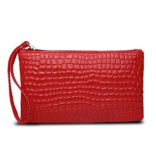 ZG-HOME Da Donna Portafogli Di Pelle Borsa Solida Borsa Portafoglio in Pelle Da Donna Con Comodo e resistente (beige) rosso