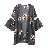 MRULIC Damen Florale Kimono Cardigan Boho Chiffon Sommerkleid Beach Cover up Leicht Tuch für die Sommermonate am Strand oder See (S, X-Grau)