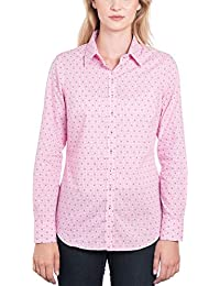 4132b29d HAWES & CURTIS Womens Pink & White Dobby Weave Semi Fitted Shirt - Single  Cuff