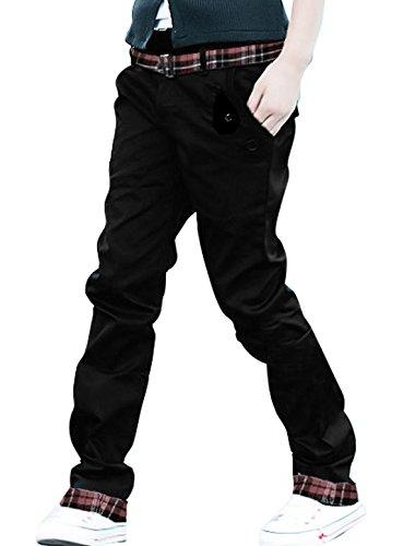 Allegra K Herren Freizeit Casual Slim Fit Stylish Straight Hosen (Cargo Schwarz Plaid)