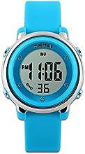 Childens relojes reloj deportivo con cronómetro y 7LED retroiluminación función tiempo maestro azul & blanco & verde correa de silicona de niños niñas watch-blue