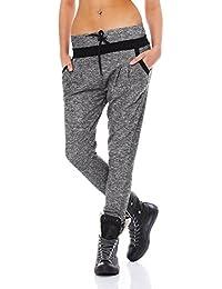 Fashion4Young Damen Haremshose Hose Baggy Boyfriend Freizeithose Jogginghose Sporthose in 5 Größen