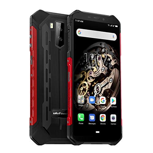 cellulare antiurto, ulefone armor x5 rugged smartphone 4g android 9.0, 3gb+32gb, batteria 5000mah, 5.5 pollici hd+ smartphone ip68, fotocamera 13mp e 5mp, dual sim, face id/nfc/gps/bussola-rosso
