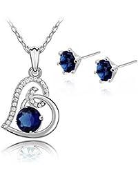 97c81295e89 Heart Blue Simulated Sapphire Zirconia Crystals Set Pendant Necklace 18