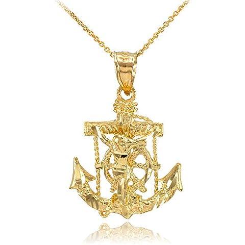 Donne Collana Pendente 10 Ct Giallo Oro Marinaio Crocifisso Ancora Croce (Viene Fornito Con Una Catena Da 45cm)