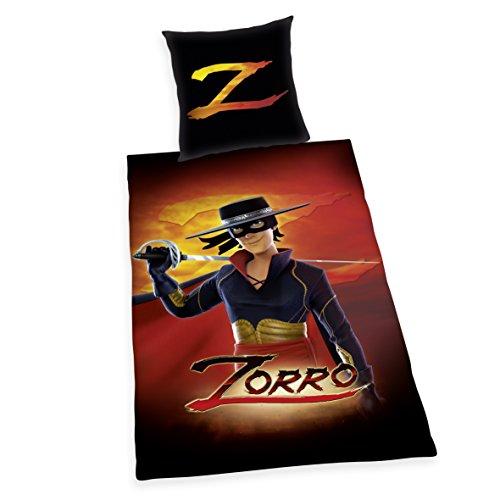 orro Bettwäsche, Baumwolle, schwarz, 135 x 200 cm (Schwarzer Zorro Hut)