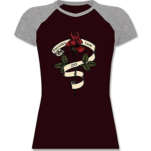 Rockabilly - Forever Love 2017 - zweifarbiges Baseballshirt / Raglan T-Shirt für Damen Burgundrot/Grau meliert