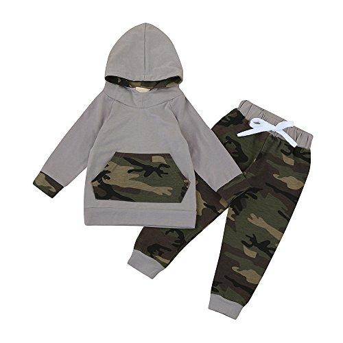 Covermason Bebé Niños Moda Camuflaje Impresión Sudaderas con Capucha + Pantalones (2PCS/1 conjunto) (6-12M, Camuflaje)