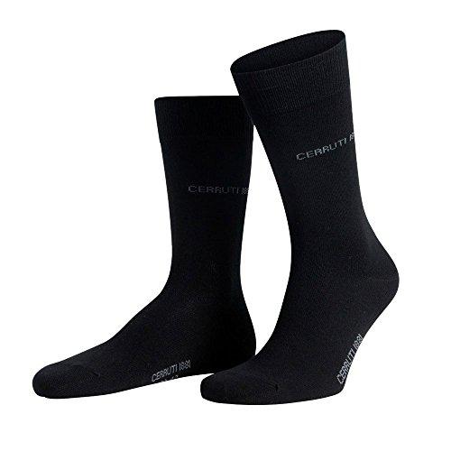 Pack 3 paia di calze CERRUTI 1881 calzini corti da uomo in caldo cotone colorati MWS (43-46, NERO)