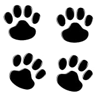 NewL 4PCS Black 3D Chrome Dog Paw Footprint Sticker Decal Auto Car Emblem Decal Decoration