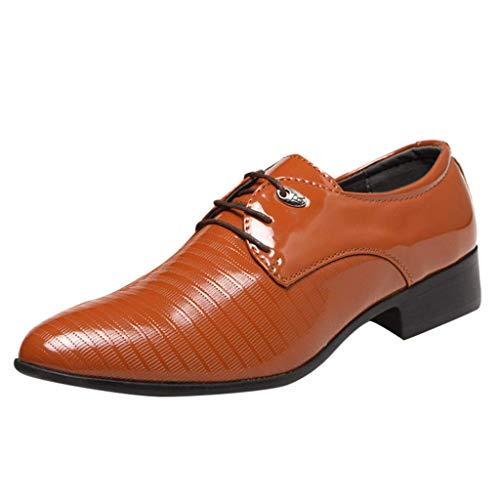 CixNy Anzugschuhe Herren Business Schuhe, Hochzeit Schnürhalbschuhe Oxford Anzug Leder Derby Männer Lackleder Lederschuhe Elegant Schwarz Braun 38-48 (Gelb, ()