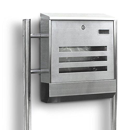 Edelstahl Standbriefkasten Briefkasten Postkasten Mailbox Letterbox Briefkastenanlage Eckig mit Zeitungsrolle