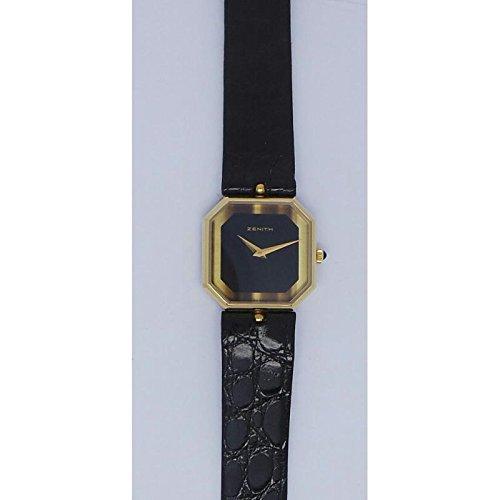 Orologio Zenith Donna 4202287305 Meccanico Acciaio placcato oro giallo Quandrante Nero Cinturino Pelle